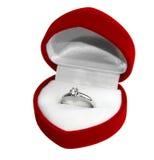 Wedding Ring in Heart-shaped box Stock Photo