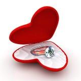 Wedding ring in heart-shaped elegant box Stock Photos