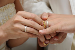 Wedding Ring for Her. Wedding ceremony moment where the groom places the wedding ring on the brides finger Stock Image