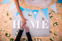 Wedding ring and home word Royalty Free Stock Photos