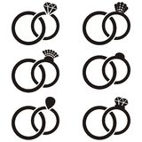 Wedding ring icons Stock Images