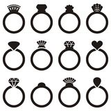 Wedding ring icons Stock Photo