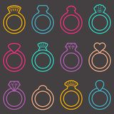 Wedding ring icons Royalty Free Stock Photography