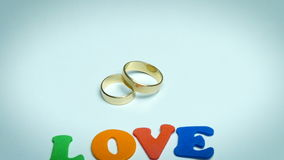 Wedding ring with letters love stock video