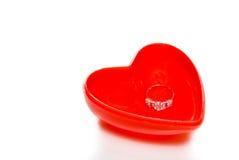 Wedding ring on love heart Royalty Free Stock Photo