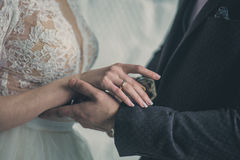 Free Wedding Ring On Brides Finger Royalty Free Stock Photo - 92257075