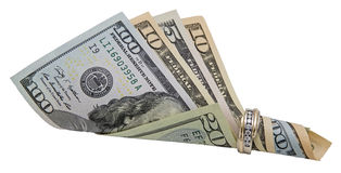Wedding ring paper money committment Royalty Free Stock Images