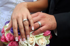 Wedding Ring-1. Photo of bride and grooms wedding rings Stock Photography