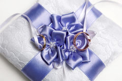 Wedding ring pillow with bow. Stock Image