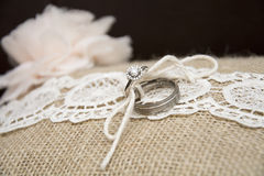 Wedding ring on pillow Royalty Free Stock Image