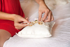 Wedding ring on pillow Royalty Free Stock Images