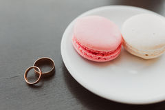 Wedding ring on plate Royalty Free Stock Images