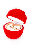 Wedding ring in red box Stock Photo
