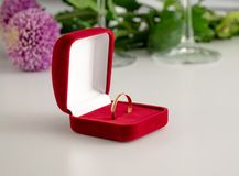 Wedding ring red box surrounded by rose petals. An offer of marriage. White gold engagement ring with diamonds in a heart shaped box and roses on white isolated royalty free stock photography