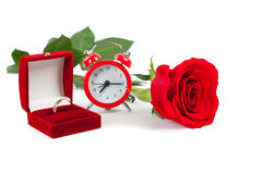 Wedding ring with a red rose Royalty Free Stock Images