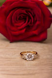 Wedding Ring and Rose Royalty Free Stock Photography