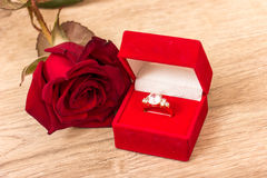 Wedding Ring and Rose Stock Photo