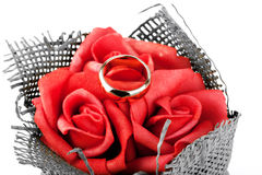Wedding ring on the roses Stock Image