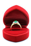 Wedding Ring in Silk Box. Luxury Diamond Jade Wedding Ring in Red Velvet Silk Box using for Engagement for Love in Valentine Holiday Concept royalty free stock image