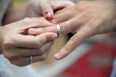 Wedding Ring. Silver wedding ring for bride Stock Photos