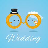 Wedding ring vector flat design illustration character. bride and groom Royalty Free Stock Images