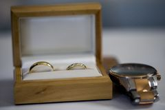 A wedding ring or wedding band Stock Photo