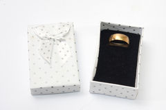 Wedding ring in the white box with bow Stock Photo