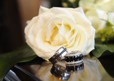 Wedding rings 1. Pair of wedding rings on Grande Piano Royalty Free Stock Photography