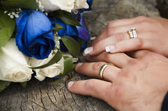Wedding rings. Just married couple showing their wedding rings stock image