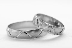 Wedding rings. Two silver wedding rings  closeup Stock Images