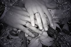 Wedding rings. Hands with wedding rings Royalty Free Stock Images