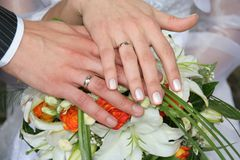 Wedding rings. Hands with wedding rings Royalty Free Stock Photography