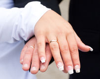 With wedding rings. Marriage is wonderful time for the lovers Royalty Free Stock Photos