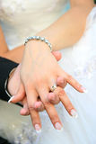 Wedding rings. On hand of bride and groom Royalty Free Stock Photo