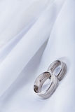Wedding rings. With names, on silk Stock Photography