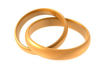 Wedding rings. Computer illustration - 3D render of joined rings Royalty Free Stock Photography
