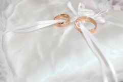 Wedding rings. Two wedding rings on the pillow Stock Photos