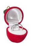 Wedding rings. In velvet box on white background stock images
