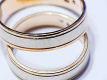 Wedding rings. Two wedding rings isolated against white background stock images