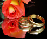 Wedding rings. A shot themed on the cooperation concept, the marriage is a cooperation also Stock Photos