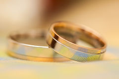 Wedding rings. Silver and gold weddings rings with coins and flowers Stock Photo