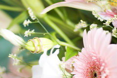 The wedding rings. On the beautiful flowers Royalty Free Stock Photography