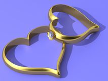 Wedding rings. The three-dimensional image of the wedding rings executed as hearts Royalty Free Illustration