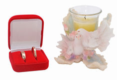 Wedding rings. In box with two pigeons figurine Stock Image
