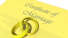 Wedding Rings. Joint wedding rings on top of a certificate of marriage Royalty Free Stock Images
