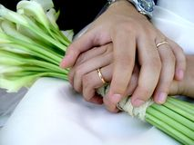 Wedding Rings. Just married groom and bride holding hands with rings Royalty Free Stock Images