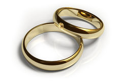 Wedding Rings. Two wedding rings isolated over a white background. This is a 3D rendered picture Stock Photos
