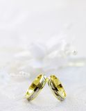 Wedding rings. Weddings rings on the white background Royalty Free Stock Photo
