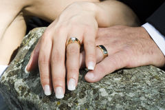 Wedding rings. A bride and groom's wedding rings on display Stock Image