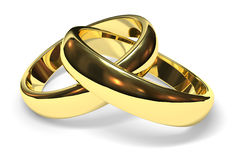 Wedding rings. Linked gold wedding rings on white background